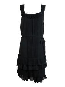 Susana Monaco Women's Accordian Tiered Belted Silk Dress 2, Black