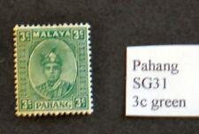 Stamps Malaya – PAHANG 1935 SG31 3C Green MINT