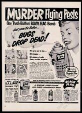 1953 Black Flag insecticide big killer happy housewife art vintage print ad