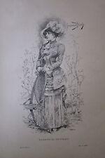 LOT de 18 GRAVURES MODE ROBES XIX éme TOILETTE PRINTEMPS BAL CHASSE de 1882