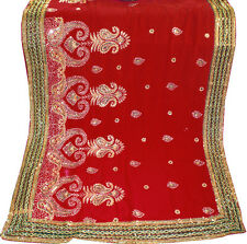 Red Bridal Bollywood Sequin Embroidery Sari Saree Costume danse du ventre Drapes