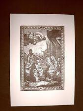 Litografia Natale L'adorazione dei Re Magi Breviarum Romanum del 1740 Ristampa