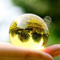 50mm Asian Rare Natural Quartz Yellow Magic Crystal Healing Ball Sphere + Stand