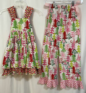 "Jelly The Pug Girls Ruffle Christmas Dress Pant Set "" Tree Sassy"" Size 6 G9"