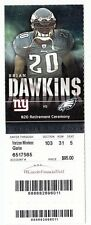 2012 PHILADELPHIA EAGLES VS GIANTS TICKET STUB 9/30/12 BRIAN DAWKINS RETIREMENT