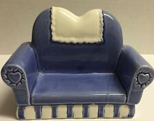"Vandor 1990 Light Blue Ceramic Love Seat Sofa Doily 5 1/4"" long x 4"" tall"