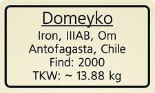 Meteorite label Domeyko