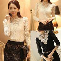 HOT Fashion Women Lace Crochet High Collar Blouse Casual Long-sleeve Shirt Tops