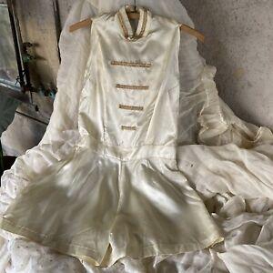 Vintage 1940s White Satin Playsuit Romper Halter Gold Appliqués Shorts Jumpsuit