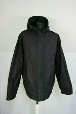 FIRETRAP Quilted lining Jacket Coat Hood Size L Black Cotton wax oil finish