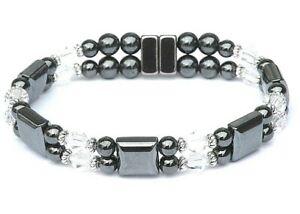 Women's Magnetic Hematite Bracelet Anklet w CLEAR SWAROVSKI CRYSTAL 2 ROW