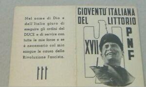 Tessera fascista PNF GIL gioventù italiana Littorio Roma Milizia Duce World War