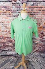 FootJoy Fj Men Short Sleeve Green Pink Abu Dhabi Golf Club Athletic Polo Shirt L