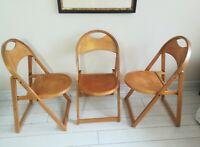 Three Retro OTK Folding Dining Chairs 1950's Mid Century