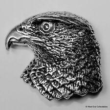 Hawks Head Pewter Brooch Pin - British Artisan Signed Badge - Falconry Hawk Bird