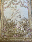 Antique French Tapestry Cherubs Cupids Arrows PINK Hearts Rose Swags Armour Tags