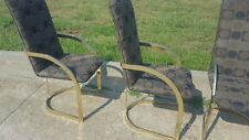 4 Vintage Mid Century Gold Hollywood Regency Milo Baughman DIA Dining Chairs