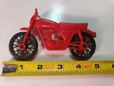 Vintage Red Plastic Toy Motorcycle With Black Wheels