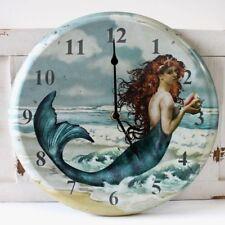 Beautiful Mermaid  Wall Clock Nautical Coastal Beach Decor