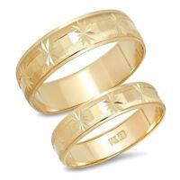 14K Yellow Gold His And Hers Mens Womens Snowflake Star Wedding Band Rings Set
