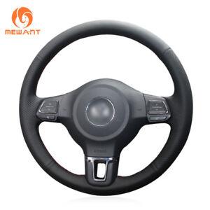 Black Genuine Soft Leather Steering Wheel Cover for VW Golf 6 Mk6 Jetta 6 Polo