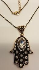 "18"" to 20"" LONG ROSE GOLD PLATED & CRYSTAL HAMSA NECKLACE"