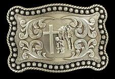 Nocona Western Mens Belt Buckle Praying Cowboy Horse Rope Edge Silver 3759059