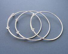Set 3pcs Expandable wire silver bangles making charm bracelets plane Adjustable