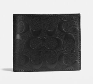 COACH COIN WALLET in SIGNATURE BLACK LEATHER * 4CC * Snap Coin * MSRP $178