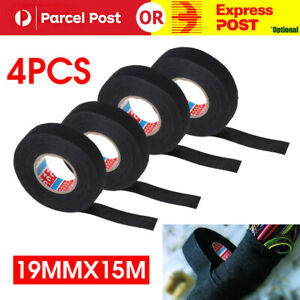 4pcs 19mmx 15M Adhesive Cloth Fabric Tape Cable Loom Wiring Harness For Car Auto