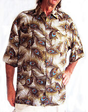 LOUD HAWAIIAN SHIRT, PEACOCK FEATHER PATTERN STAG NIGHT HOLIDAY summer party new