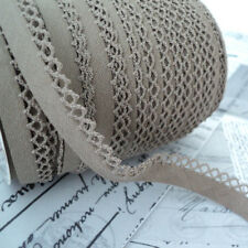 BY THE METRE OR ROLL - PICOT EDGE - NATURAL LINEN & COTTON EUROPEAN BIAS BINDING