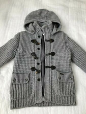 Bark Knitted Duffle Jacket Cardigan Hoodie Gray Boys 12 Made In Italy Hooded