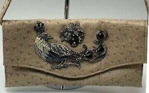 Iris Lane Faux Ostrich Leather Clutch Satchel Handbag Enamel Jeweled Peacock