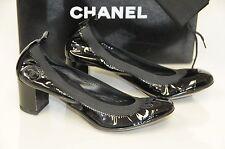 New Chanel Black Patent Leather CC Stretch Ballet Pumps Shoes 36.5