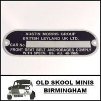 CLASSIC MINI CHASSIS PLATE AUSTIN MORRIS LEYLAND ROVER COOPER BMC VAN BL MG 5F3