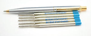 Quality stainless steel click pen gold Trim + 5 Blue Mitrax brand refills