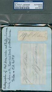 Tuffy Leemans Mel Hein Album Page Psa/dna Autograph