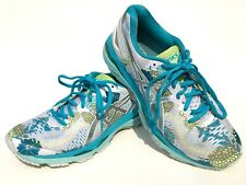 ASICS Women's GEL KAYANO 23 Size 8 White Silver Blue Floral Running Shoes T6A5N