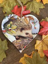 SHABBY CHIC Decoupage Wooden Heart 12cm Hedgehog Handmade Gift Home Tag