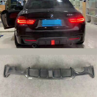 For 14-19 BMW F32 F36 Carbon Fiber M Sport Rear Bumper Diffuser Dual Exhaust Tip