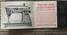 Vintage Singer Slant-o-matic sampler set-3 needles advertising model 500 machine