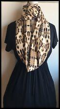 Stampa Animale Leopardo Sciarpa infinity Infinito Marrone Scialle burqa in tessuto jersey