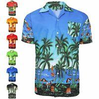 New Mens Hawaiian Shirt Summer Holiday Casual Printed Multiple Colours M-3XL