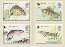 GB POSTCARDS PHQ CARDS USED REAR FDI 1983 BRITISH RIVER FISHES PACK 65 STICKER