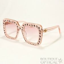 New! Gucci Square Womens Sunglasses Pink w Crystals & Pink Gradient Lens GG0148S