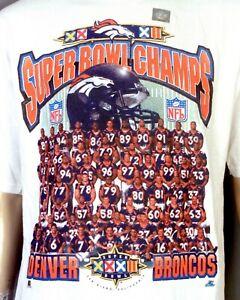 vintage 90s NOS NWOT Starter 1998 Denver Broncos Team Photo T-Shirt Super Bowl L