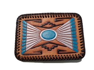 Vintage Hand Stitched & Hand Painted Leather Belt Buckle