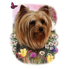 YORKIE with Flowers on One 18 x 22 inch Fabric Panel to Quilt or Sew. SALE!