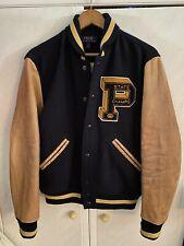 Polo Ralph Lauren Leather P Patch Letterman Varsity Jacket Medium Brand New
